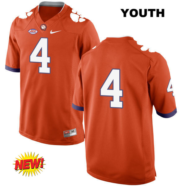 finest selection 25880 63a32 Youth Nike no. 4 Clemson Tigers New Style Orange Deshaun Watson Stitched  Authentic College Football Jersey - No Name