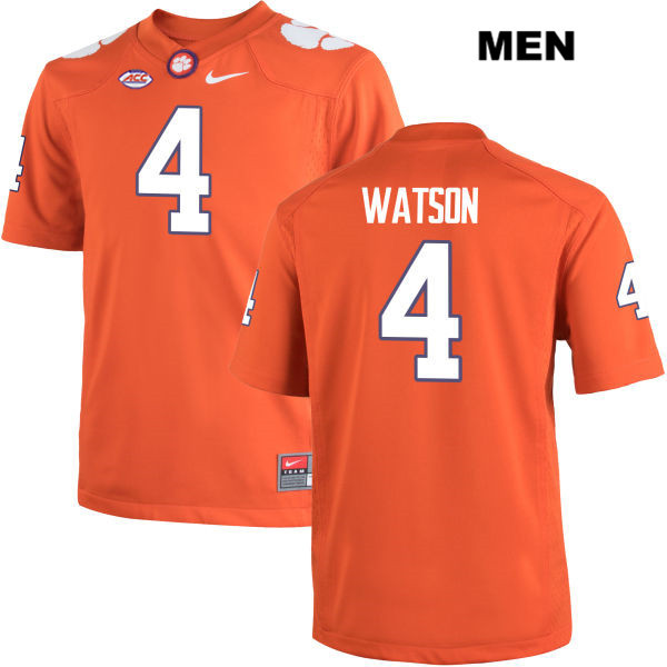 ac0f1ee115a Stitched Mens no. 4 Clemson Tigers Orange Nike Deshaun Watson Authentic  College Football Jersey